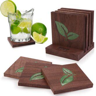 Деревянные, дизайнерские подставки Woodstime под Стаканы/Бокалы/Чашки Ручной Работы. 4 шт
